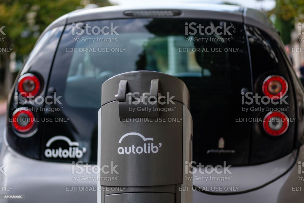 Charging station for electric car in Paris Autolib service stock photo