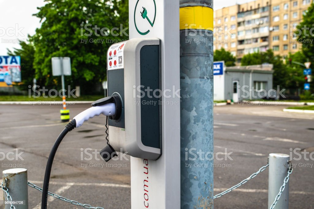 charging station for electric cars at parking place