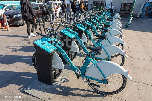 Istanbul, Turkey, Feb 04, 2019: Charging station for rental electric bicycles in a suburb of Istanbul.
