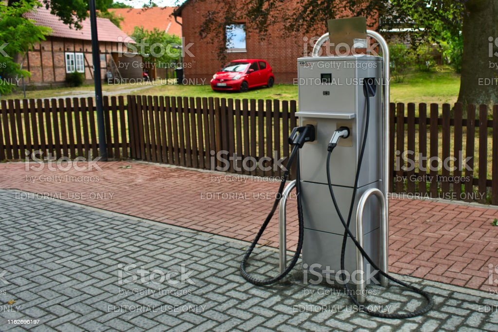 Charging station of an electric filling station in a small German...