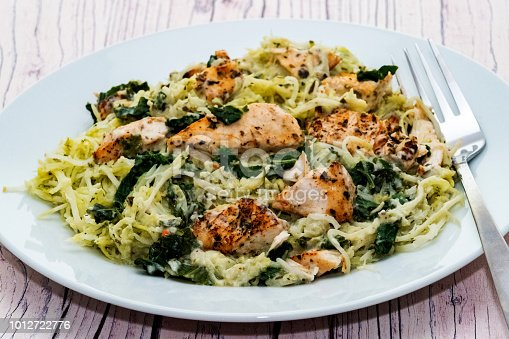 Chargrilled chicken and courgetti with brocolli in a creamy basil pesto sauce