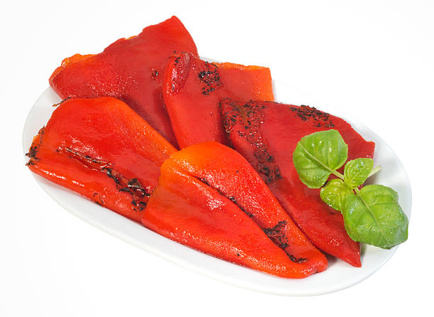 Chargrilled red peppers stock photo