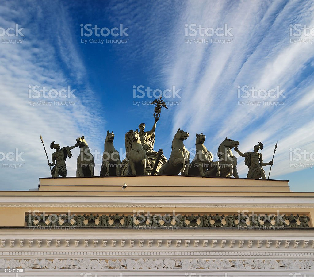 Chariot of Fame on the roof of the Headquarters stock photo