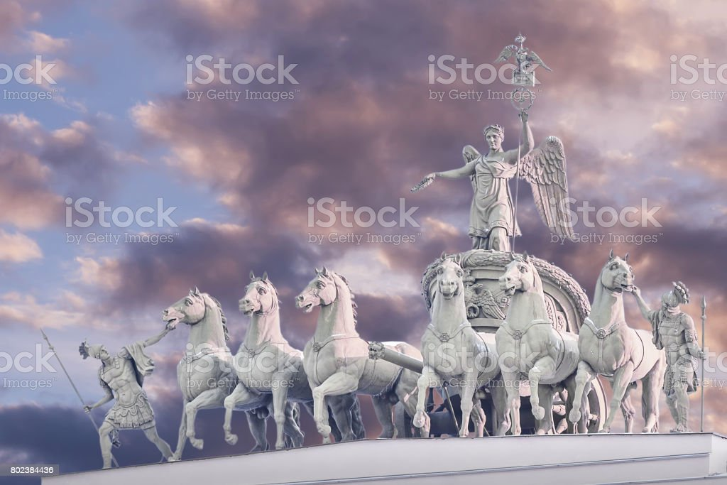 Chariot of Glory on the arch of the General Staff in St. Petersburg stock photo