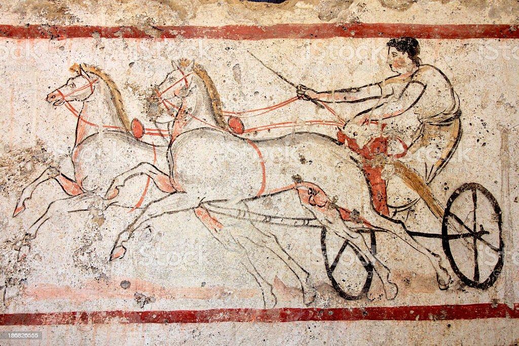 Corsa di bighe (480-470 a.C. - foto stock