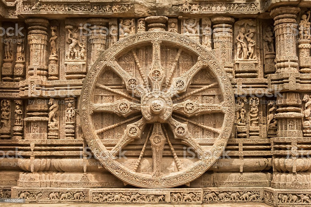 Chariot wheel at Konark Sun Temple, India. stock photo