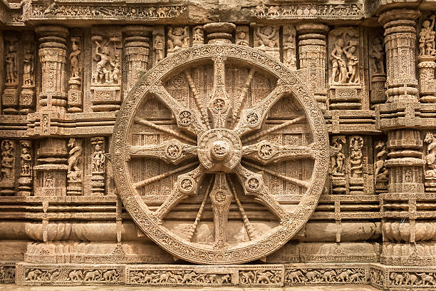 Chariot wheel at Konark Sun Temple, India. A chariot wheel carved into the temple wall at Konark, India. carving craft product stock pictures, royalty-free photos & images