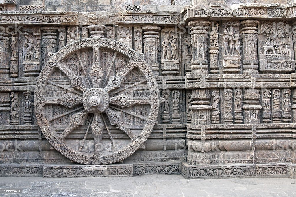 Chariot Wheel on Ancient Konark Hindu Temple royalty-free stock photo