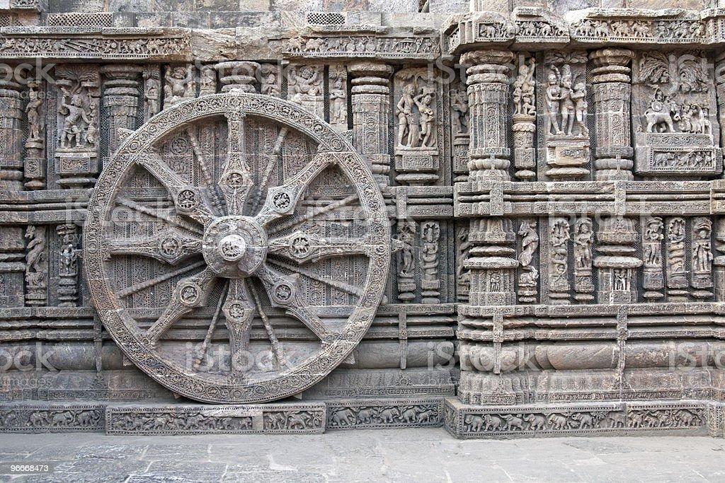 Chariot Wheel on Ancient Konark Hindu Temple stock photo