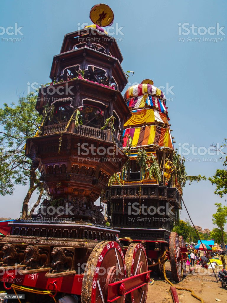 Chariots at Virupaksha Car Festival, Hampi stock photo