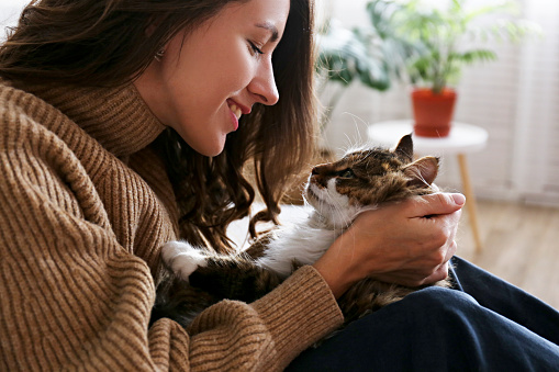 1149249445 istock photo Charismatic young woman playing with her adorable cat. 1205811708