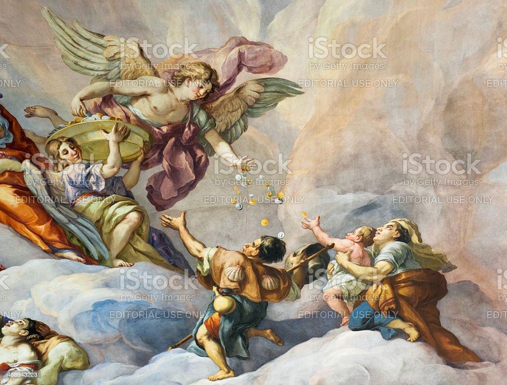 Charity - Church Fresco Detail stock photo