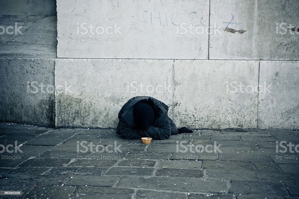 Charity: Poor Woman In A Street Asking For Money - Royalty-free Adult Stock Photo