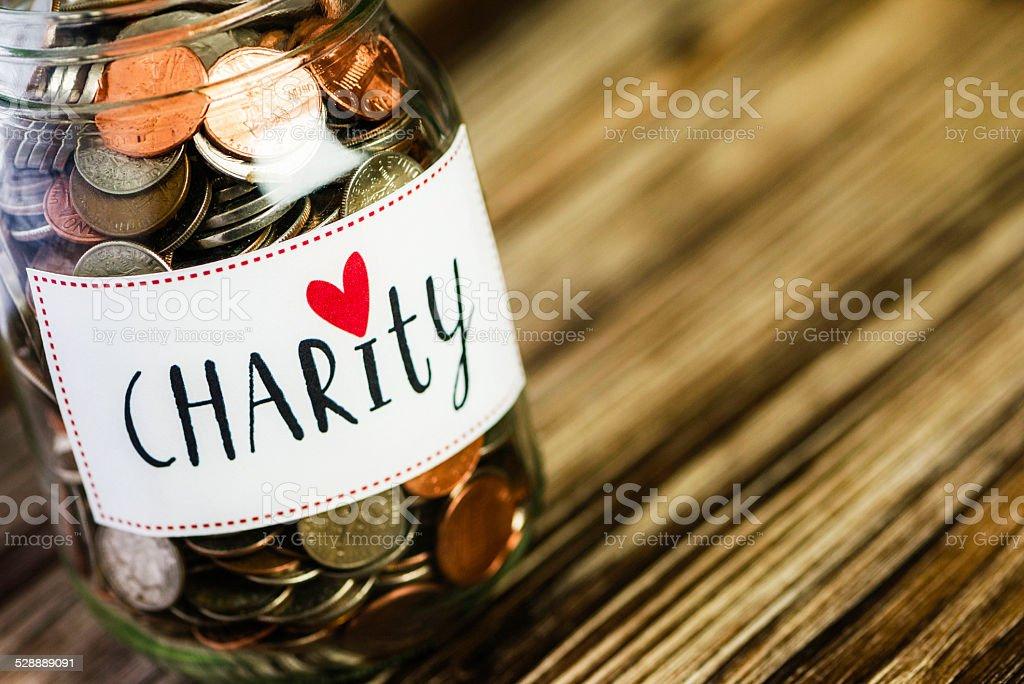 Charity Savings Jar stock photo