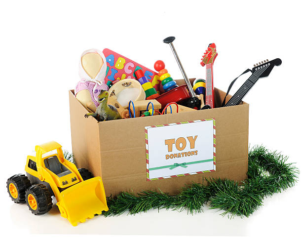 charity toys for christmas - toy stock pictures, royalty-free photos & images