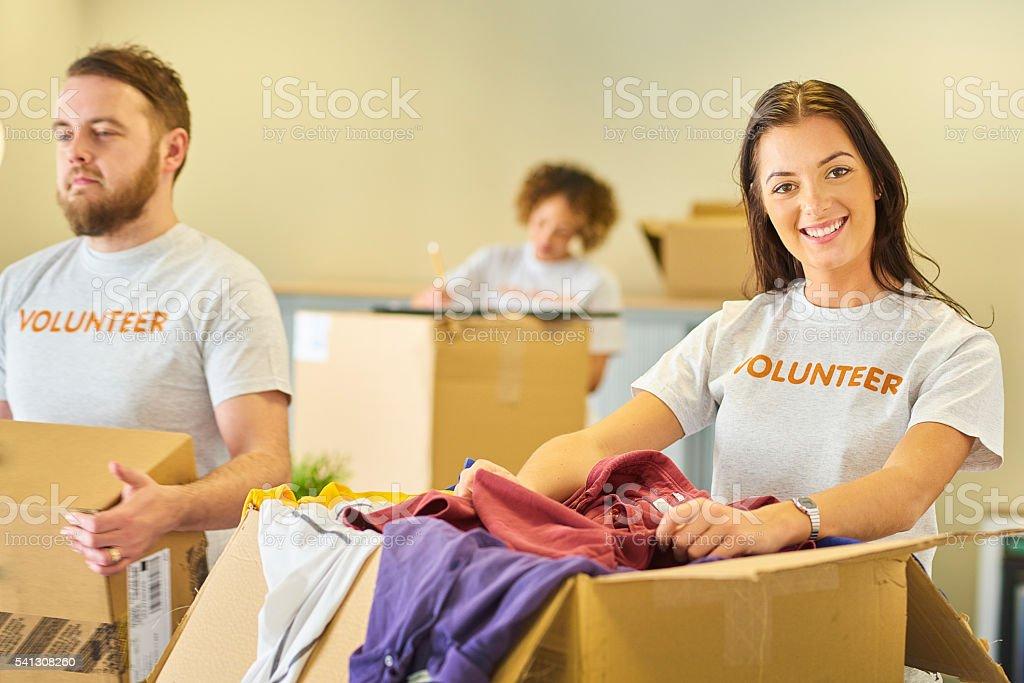 charity volunteering stock photo