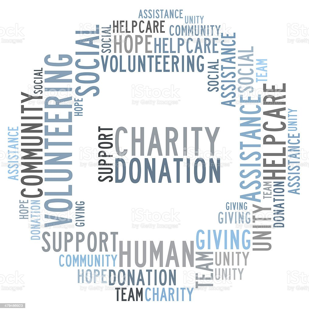 Charity word cloud stock photo