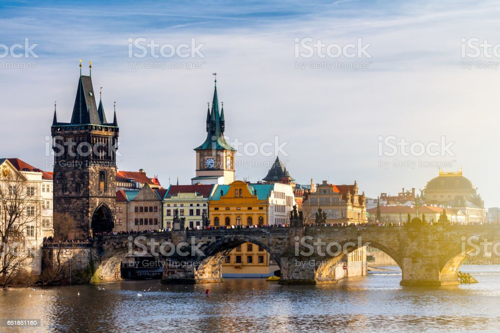 Charles Bridge (Karluv Most) and Lesser Town Tower, Prague, Czech Republic stock photo