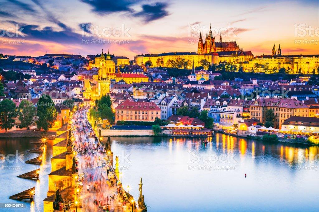 Charles Bridge and Prague Castle, Czech Republic zbiór zdjęć royalty-free