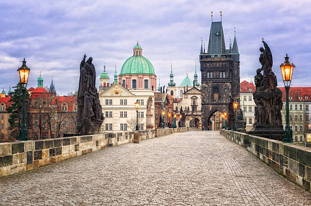 Charles bridge and the skyline of Prague, Czech Republic stock photo