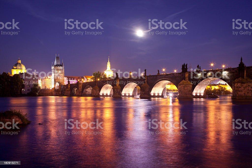 Charles Bridge at night royalty-free stock photo