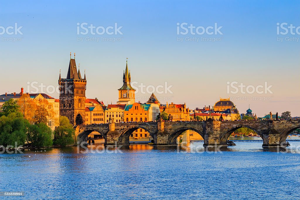 Charles Bridge at sunset. Prague.Czech Republic stock photo