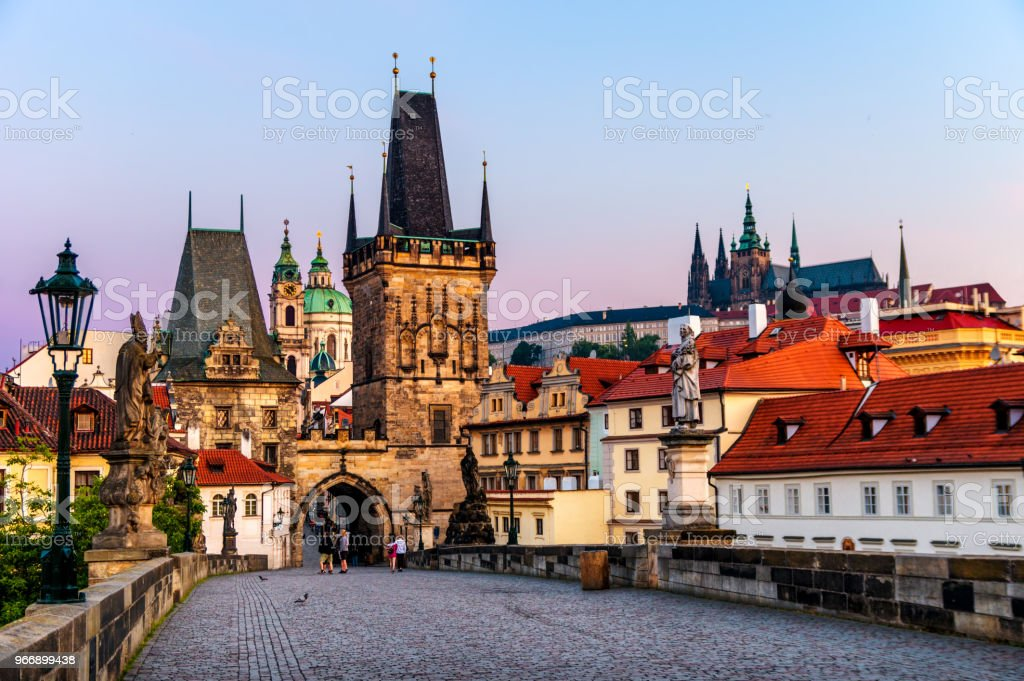 charles bridge (Karlův most) castle of Prague and St Vitus cathedral at sunrise. Czech Republic stock photo