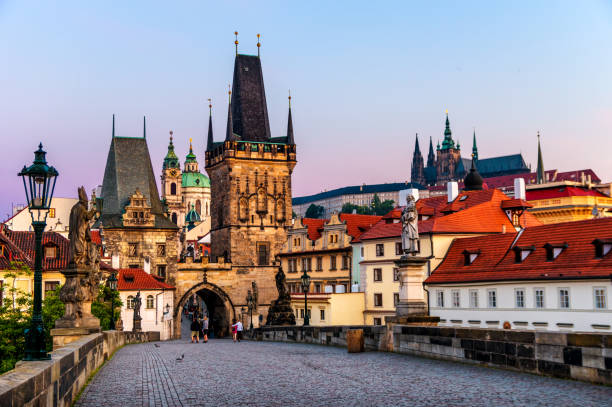 charles bridge (Karlův most) castle of Prague and St Vitus cathedral at sunrise. Czech Republic charles bridge and Castle of Prague in the morning. Czech Republic prague stock pictures, royalty-free photos & images