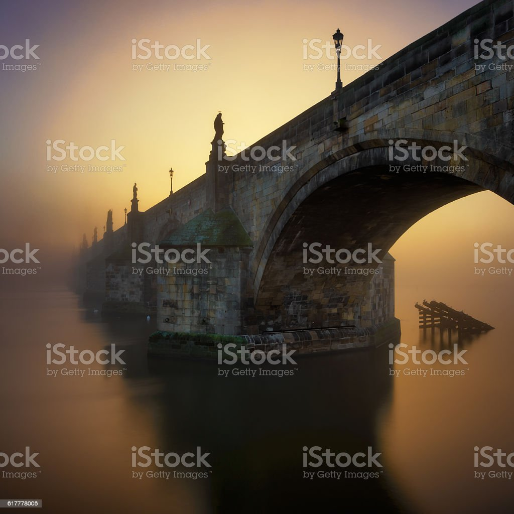 Charles Bridge during sunrise, Prague, Czech republic stock photo