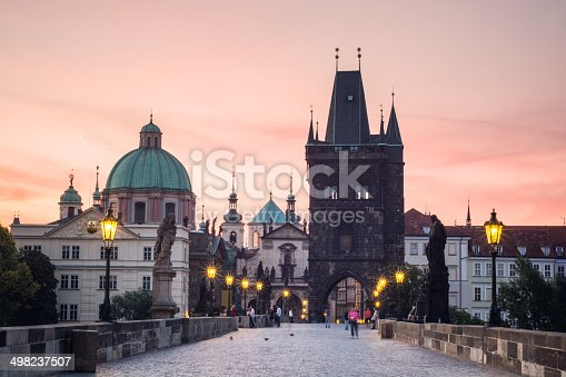 Charles Bridge during the early morning in Prague, Czech Republic.