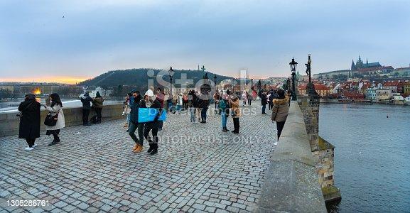 istock Charles Bridge, famous walking street in Prague 1305286761