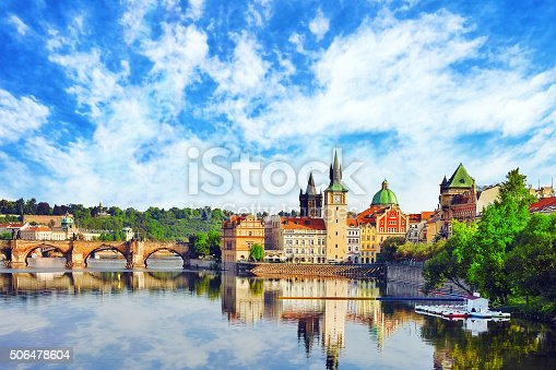 istock Charles Bridge from the quay of the Vltava River. 506478604