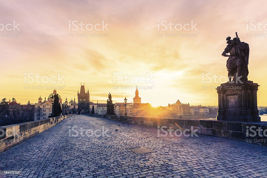 Charles Bridge in Prague at Early Morning stock photo