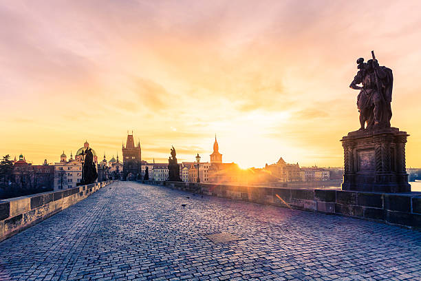 Charles Bridge in Prague at Early Morning stock photo