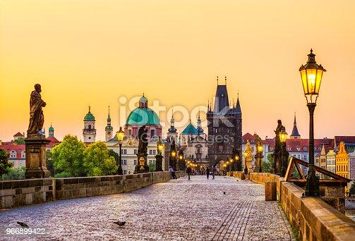 charles bridge in Prague in the morning. Czech Republic