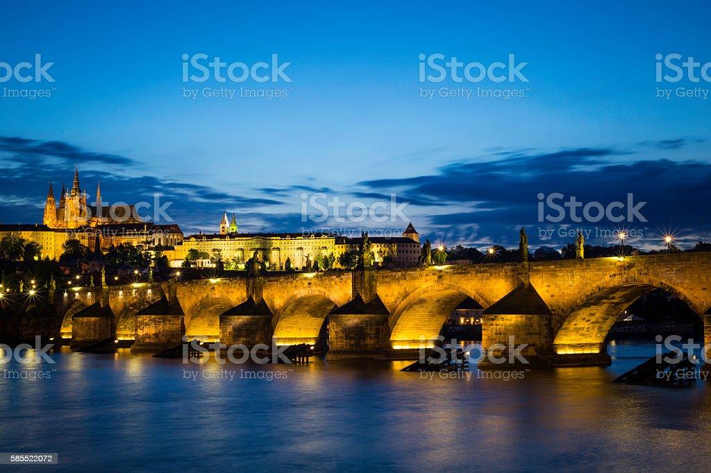 Charles Bridge in Prague at night royalty-free stock photo