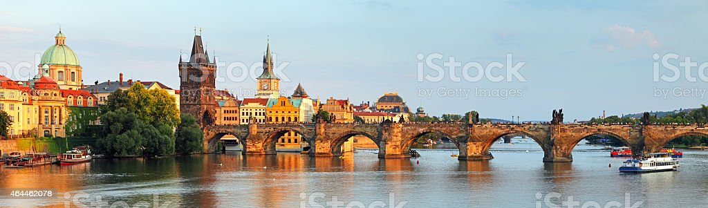Charles bridge in Prague, Czech republic stock photo