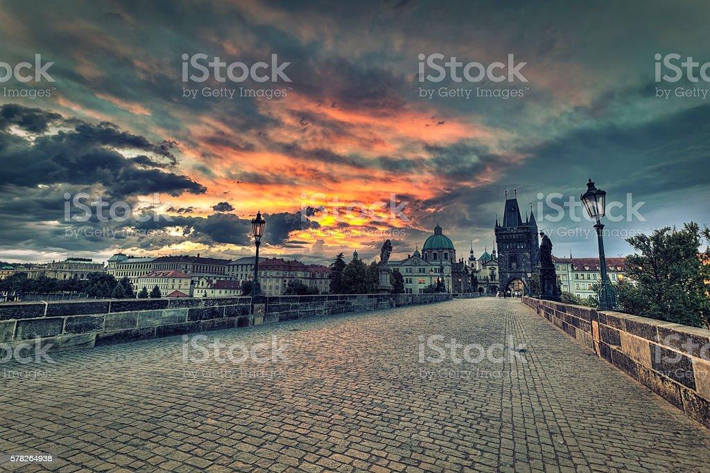 Charles bridge in Prague during sunrise stock photo