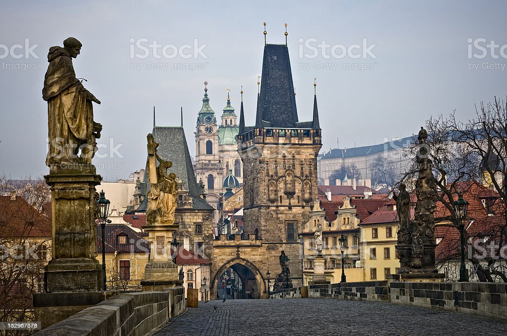 Charles Bridge Lesser Towers in Prague stock photo