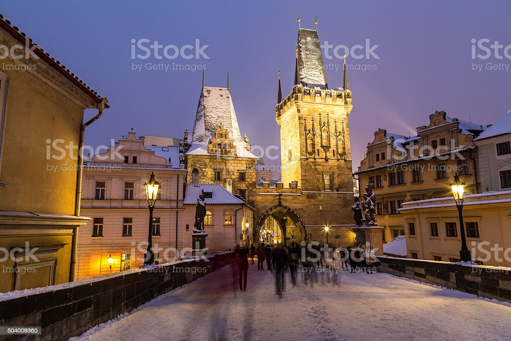 Charles Bridge Lesser Town Tower stock photo