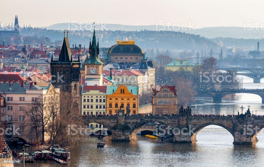 Charles Bridge (Karluv most), Old Town Bridge Tower and Charles Bridge Museum, Prague, Czechia stock photo
