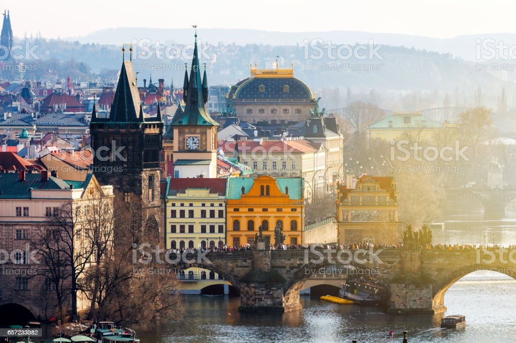 Charles Bridge (Karluv most), Old Town Bridge Tower and Charles Bridge Museum, Prague, Czechia stock photo