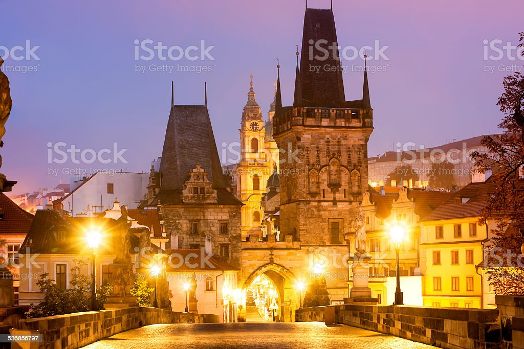 Charles Bridge on Foggy Morning, Prague, Czech Republic stock photo