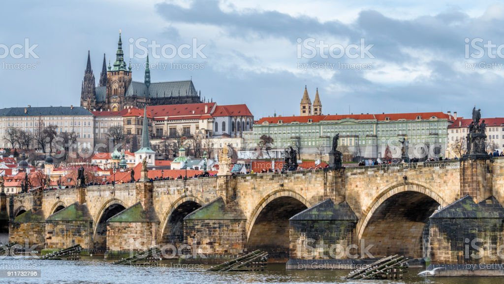 Charles bridge on the Vltava river stock photo
