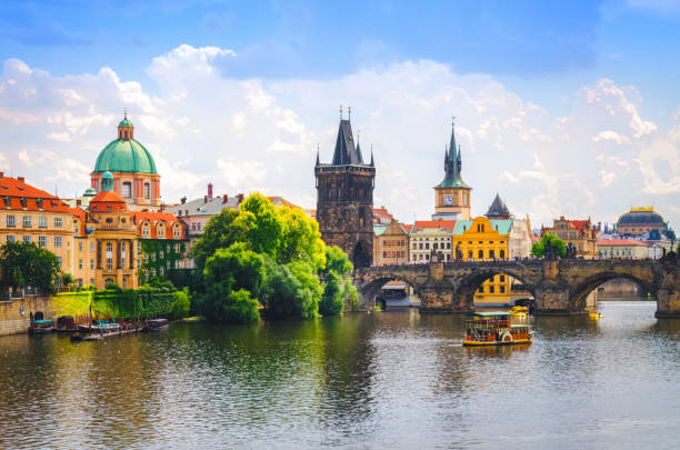 charles bridge over vltava river in prague - czech republic stock pictures, royalty-free photos & images