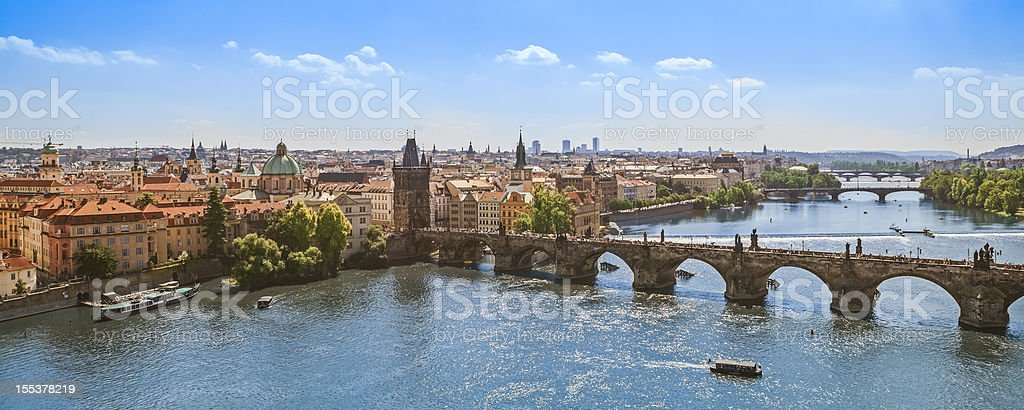 Charles Bridge over Vltava River, Prague stock photo