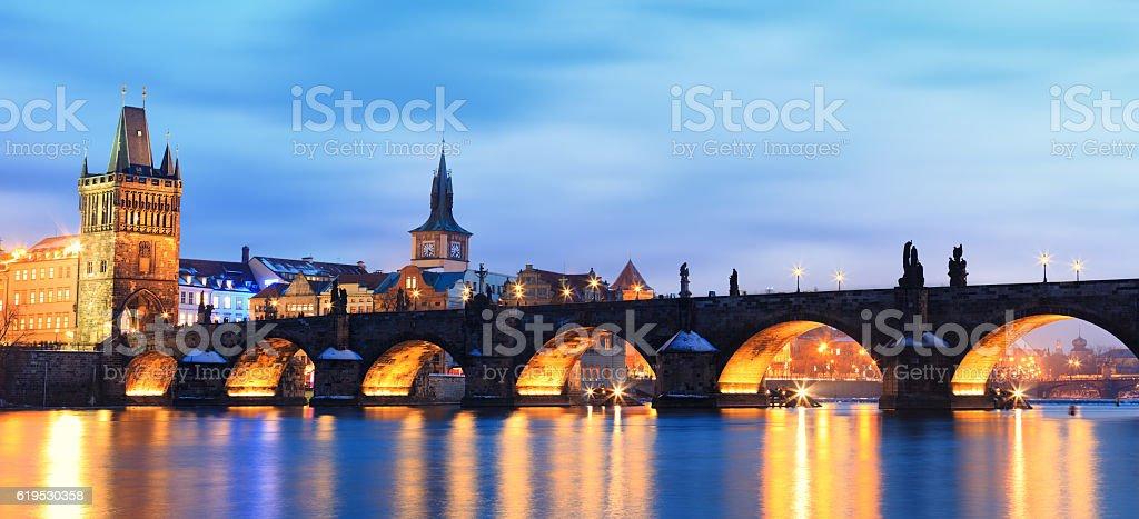 Charles Bridge Panoramic stock photo