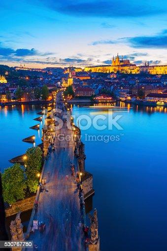 Photo of the Charles Bridge in Prague, Czech Republic at blue hour.