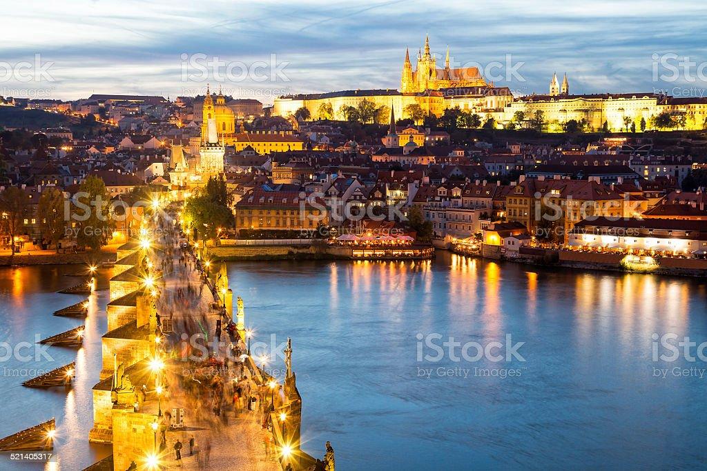 Charles Bridge, River Vltava and Castle District in Prague stock photo