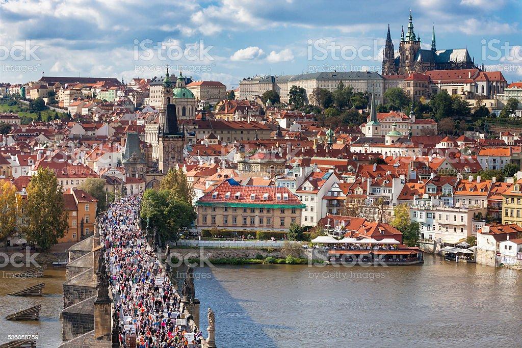 Charles Bridge, River Vltava and Old Town in Prague stock photo